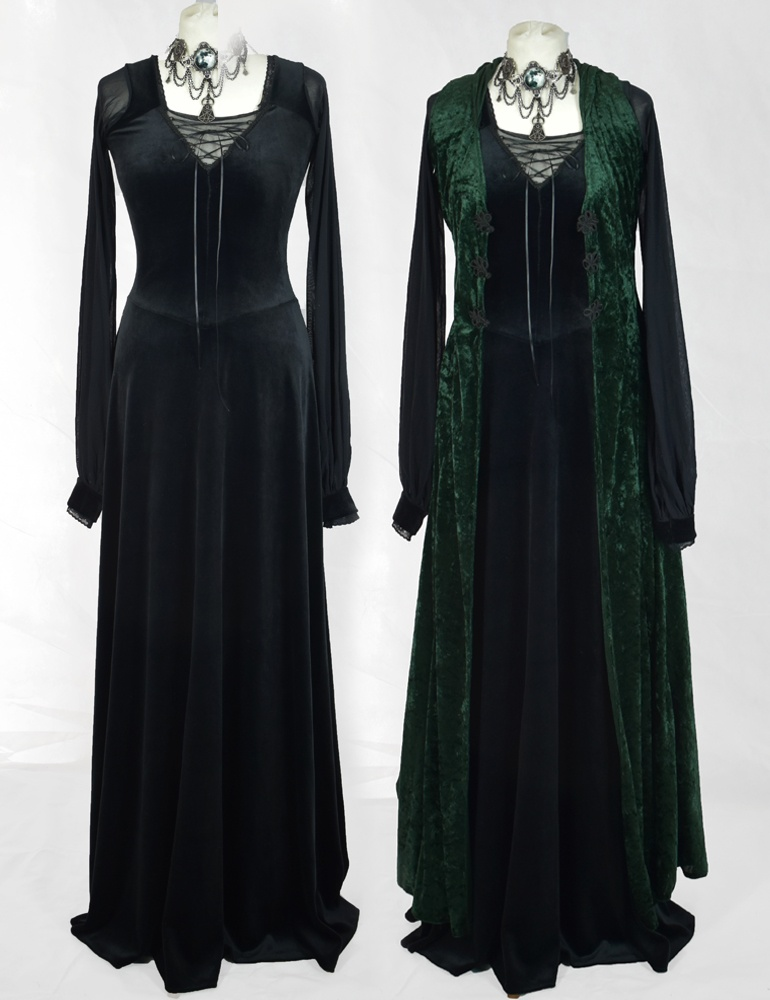 Bellmaiden Dress with Velvet Duster Coat