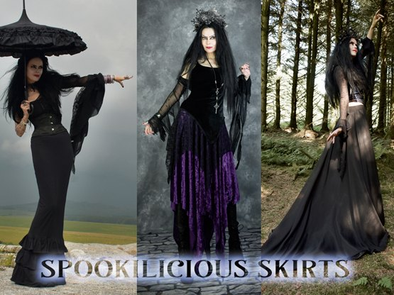 From dramatic floor-sweeping steampunky awesomeness to classic, everyday witch wear!  Velvet or cotton or lace, perfect as is or gothed up to the max!