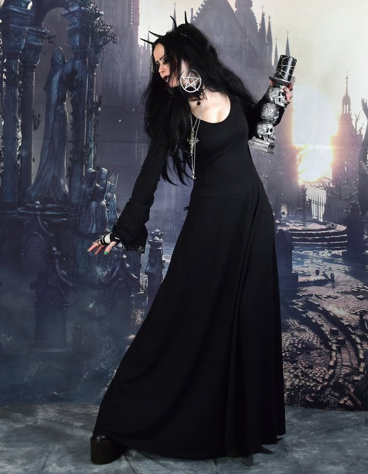 Gofficeia Witch Dress Witchy Clothing Cotton Long