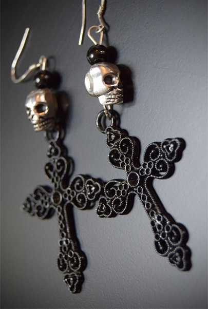 My Beautiful Gothic Large Cross and Skull Earrings