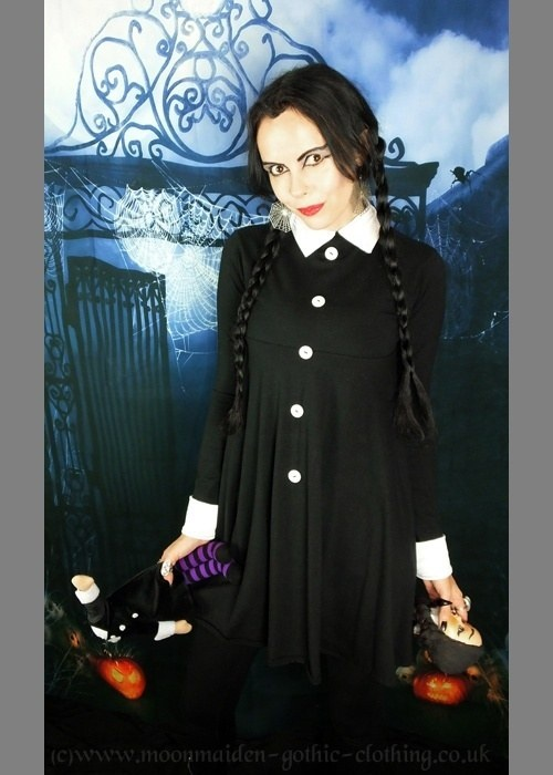 3b33cd45840 Wednesday Addams Mourning Minidress - addams family cotton mini dress by  Moonmaiden Gothic Clothing