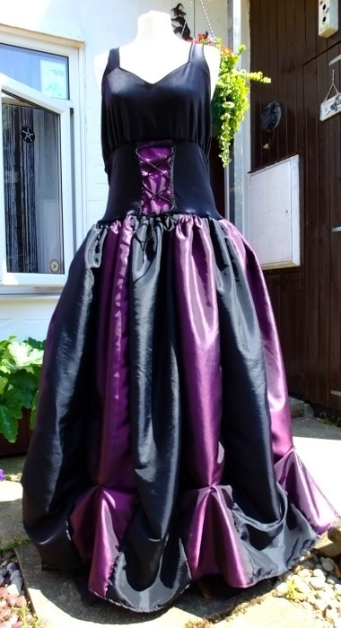 Steampunk Ballgown in Black and Amethyst