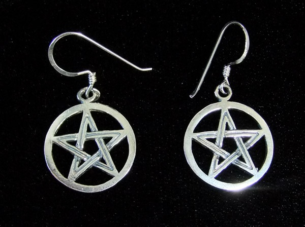 Silver Pentagram Earrings - SALE