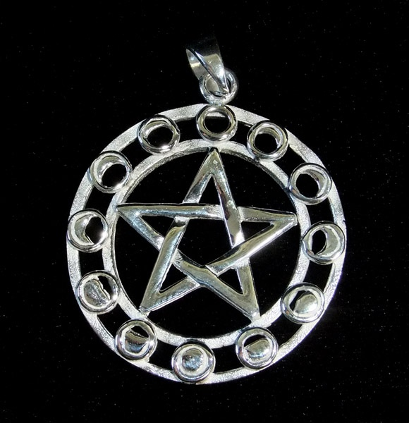 Silver Moonphase Pentagram Pendant - SALE