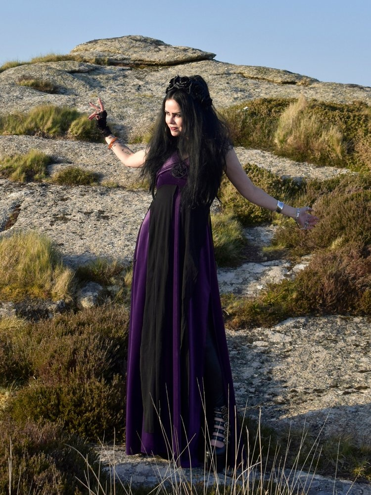 pentagram witch dress  steamed velvet goth witch wiccan