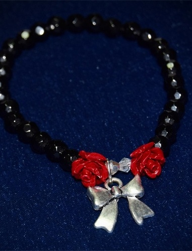 My Beautiful Gothic Bow and Roses Stretch Bracelet