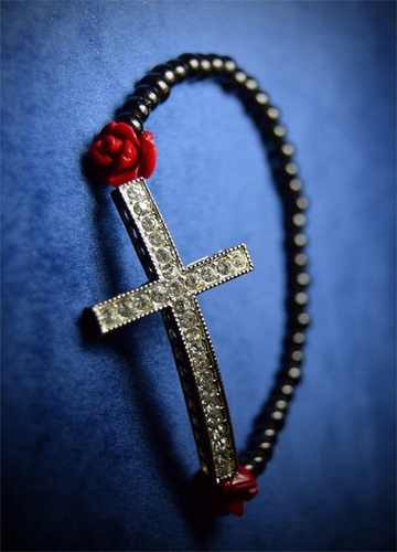 My Beautiful Gothic Sparkly Cross and Roses Stretch Bracelet