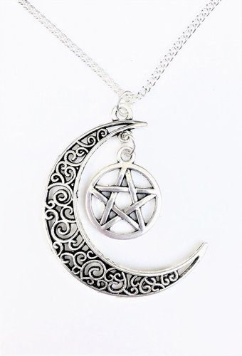 Magickal Moon and Pentacle Necklace