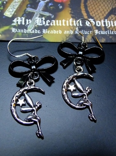 My Beautiful Gothic Moon Faerie and Bow Earrings