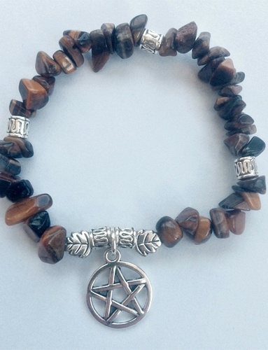 My Beautiful Gothic Tiger's Eye & Pentacle bracelet