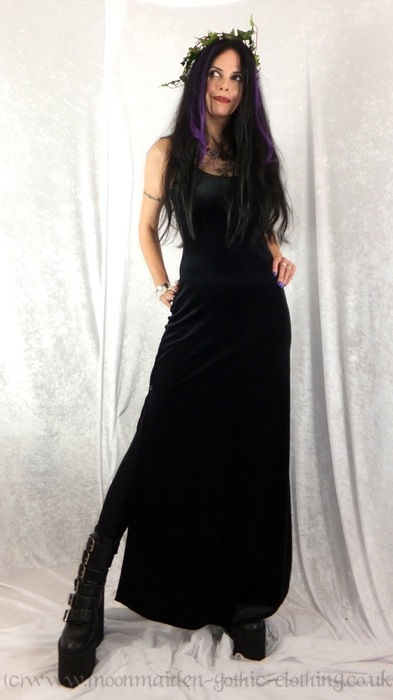 Long Black Widow Dress , Dresses , Moonmaiden Gothic Clothing