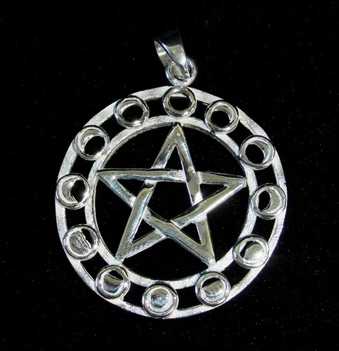 Silver Moonphase Pentegram Pendant - SALE