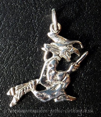 Silver Flying Witch Pendant - SALE