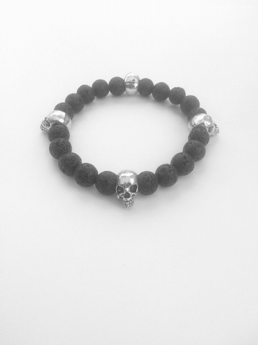 My Beautiful Gothic Lava Rock 'n' Skull Aromatherapy Bracelet