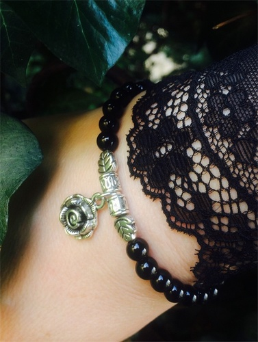 My Beautiful Gothic Black Onyx Gemstone & Rose Charm Bracelet