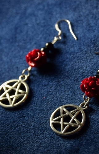 Rose and Pentagram Earrings