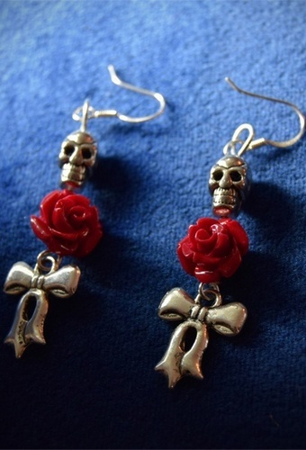 Skull, Rose and Bow Earrings