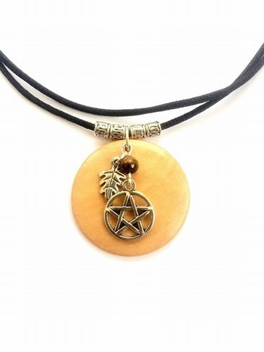 Wooden Necklace with Tibetan Silver Pentacle, Leaf and Tiger's Eye