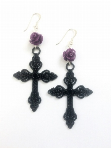 Purple Roses & Ornate Black Cross Earrings with sterling silver ear wires